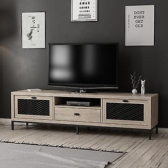 Mobile TV Door Zeus Color Wood, Noir en puce melaminique, Métal 180x35x49 cm