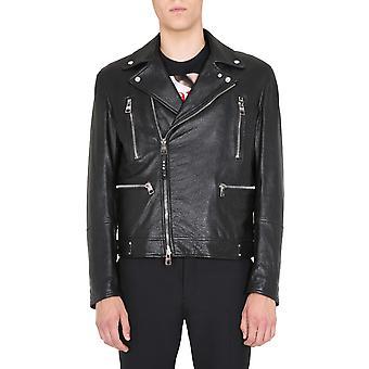 Alexander Mcqueen 626381q5lds1000 Männer's Schwarz Leder Outerwear Jacke