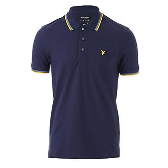 Men's Lyle And Scott Tipped Slim Stretch Polo Shirt in Blue