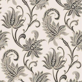 Sorrento Neoclassical Black Cream Wallpaper Textured Metallic Vinyl Rasch