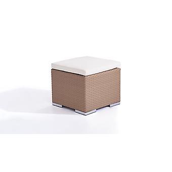 Polyrattan Cube kruk 50 cm - karamel