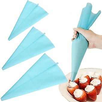 DIY Cake Decorating Tools - Blue Silicone Icing Piping Cream Pastry Bag - 3 Sizes Reusable Batter Dispenser