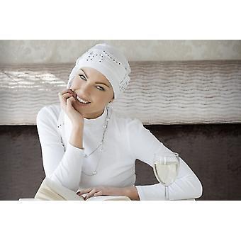 Headwear de quimioterapia estiloso - Yanna espiral branca
