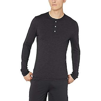 Peak Velocity Men's Thermal Long Sleeve Athletic-Fit Henley, Black Heather, L...