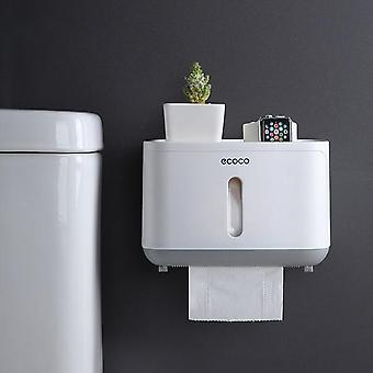 Semi-automatic Switch Double Outlet Waterproof Wall Mounted Toilet Paper Holder Storage Box