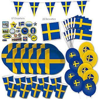 Zweden Party Set XL 117-stuk voor 10 gasten Party SwedenParty Sverige Verjaardag Decoratie Party Pakket