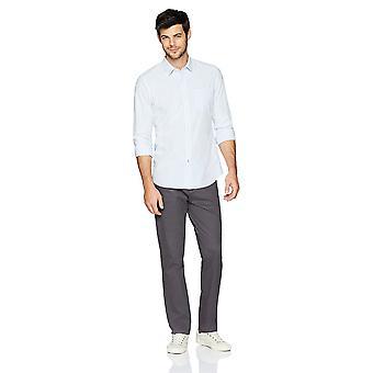 Goodthreads Men's Slim-Fit Long-Sleeve Gingham Plaid Poplin Shirt, Grey/blue/...