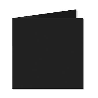Jet Black. 123mm x 246mm. Small Square. 235gsm Folded Card Blank.