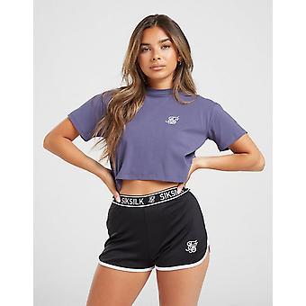 New SikSilk Women's Fade Tape Crop T-Shirt Blue