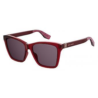Sunglasses women rectangular glitter red/violet