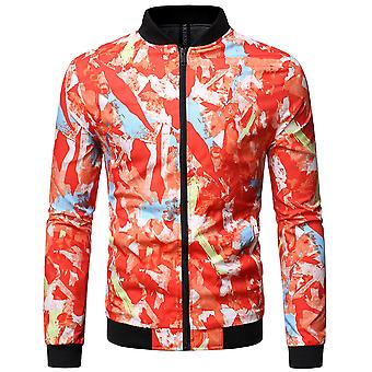 Allthemen Men's Casual Fashion Stand Collar Printed Jacket Autumn