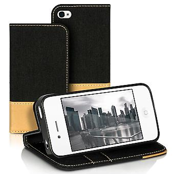 Mobile Shell Wallet for Apple iPhone 4/4s Full Cover Protection Leatherette Phone