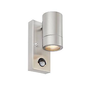 1 Lätt utomhus PIR Vägg ljus borstat rostfritt stål, glas IP44, GU10