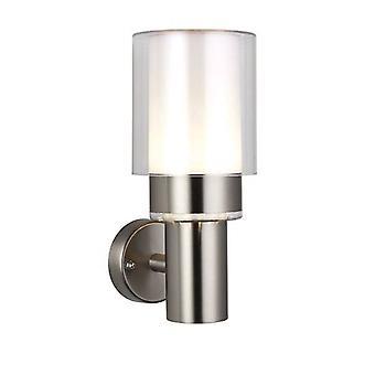 Integrerad LED 1 Ljus utomhus vägg ljus borstat rostfritt stål, klart IP44
