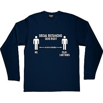 Social Distancing Done Right (Flat-Earthers) Navy Blue Long-Sleeved T-Shirt