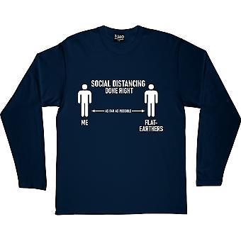 Distanciamento Social Feito Direito (Terra Plana) Azul Marinho De Mangas Compridas T-Shirt
