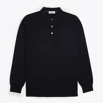 Thomas Maine  - Merino Polo Shirt - Black