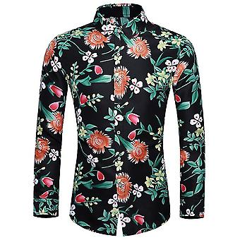 Heren's Floral Slim Fit Long Sleeve Cotton Casual Button Down Dress Shirt