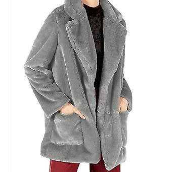 Sage | Faux Fur Open-Front Coat