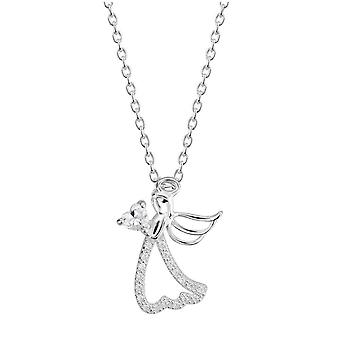 Dew Silver Cubic Zirconia Guardian Angel 18 Necklace 9100CZ027