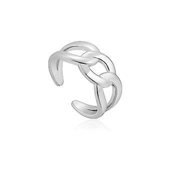 Ania Haie Chain Reaction Rhodium Wide Curb Chain Adjustable Ring R021-02H