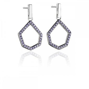 Fiorelli Silver Revised Lilac Pave Open Shape Earrings E5478M