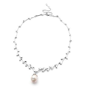 LucyQ Freshwater White Pearl Drip Design Necklace in Rhodium Plated Silver