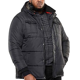 Duke D555 Mens Big Tall King Storlek Lonsdale Parka Style Vinterjacka - Svart