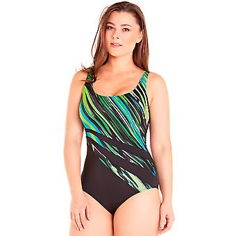 Aqua Perla Womens Maureen One Piece ملابس السباحة المطبوعة بالإضافة إلى حجم SPF50+