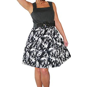 Women's Sleeveless Skater Dress Ladies Evening Day 50's Rockabilly Mini Flare Swing Party Cocktail Dress With Belt Black White 8-10