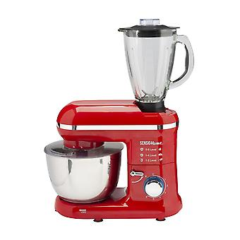 Sensio Home 2-in-1 Food Processor Blender & Stand Mixer Machine - 1300W Electric Motor - Red