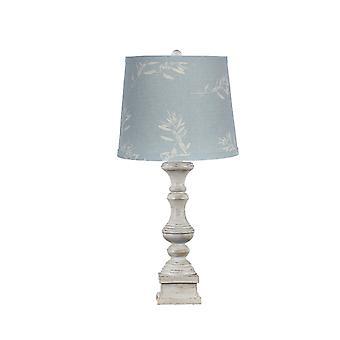 מנורת שולחן לבנה במצוקה עם גוון פשתן כחול מעוטר
