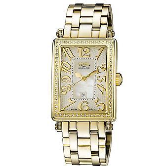 Gevril Women's 9444YLB Avenue of America Timantit MOP Dial Gold IP Steel Watch