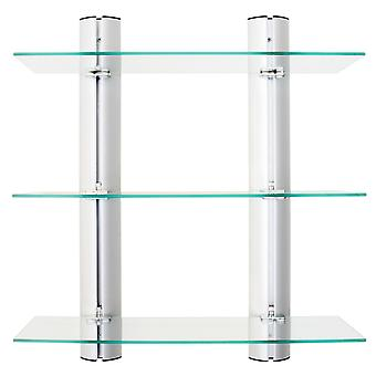 Danya B. Bathroom Shelving Unit Decorative Wall-Mount 3-Tier Adjustable Glass Wall Shelves On Aluminum Bars