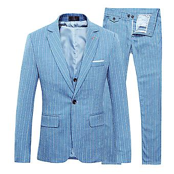 YANGFNA Men's Pinstripe Suit 3 Pcs Set