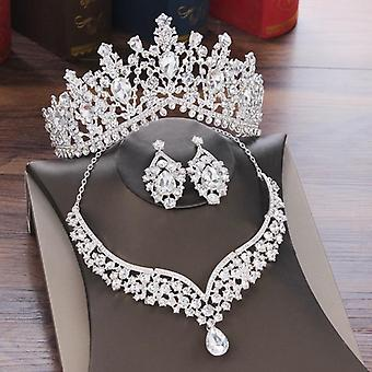 Crystal Water Drop Bridal Jewelry Sets-rhinestone Tiaras, Crown, Necklace,