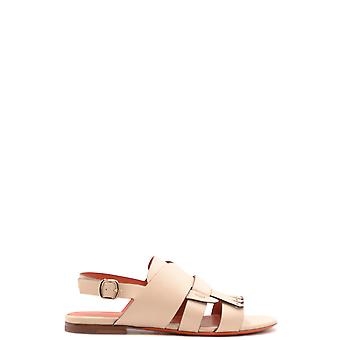 Santoni Ezbc023027 Women's Beige Leather Sandals