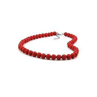 Halskjede Perler 10mm Rød Skinnende 42cm