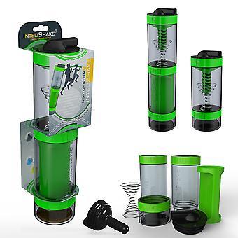 Intelishake Grasshopper Green - Shaker Bottle Wielokomorowy Protein / trening / sok z filtrem węglowym wody do ćwiczeń sportowych i siłowni