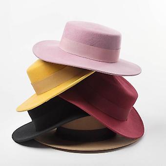 100% Wool Flat Top Ribbon Bowknot Accent Church Dress Derby Winter Warm Cap
