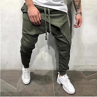Mężczyźni ołówkowe spodnie mężczyźni asymetryczne warstwowe jogger spodnie hip hop jogger