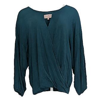 Laurie Felt Women's Top Long Sleeve Wrap Keyhole Neck Detail Blue A309499