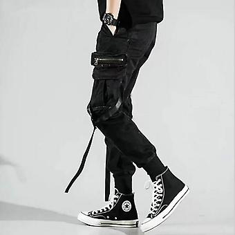 Men's Side Pockets Harem Pants, Autumn Hip Hop Casual Ribbons Design Male