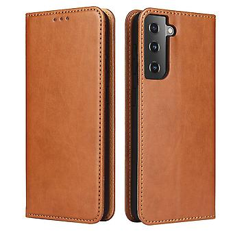 For Samsung Galaxy S21 Case Leather Flip Wallet Folio Cover Brown