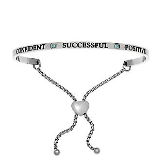 """Intuitions Stainless Steel Confident, Successful, Positive December Lite Blue Birthstone  Bangle Bracelet, 7"""""""