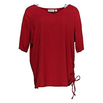 Belle By Kim Gravel Women's Plus Top TripleLuxe Ruched Side Red A351544