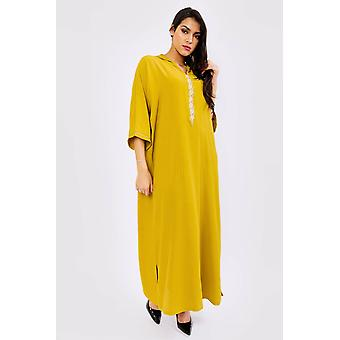Djellaba hilal cropped sleeve hooded maxi dress kaftan in lime