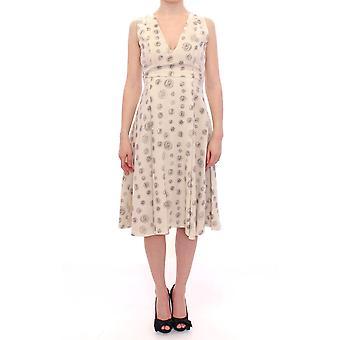 White printed shift v-neck sheath dress