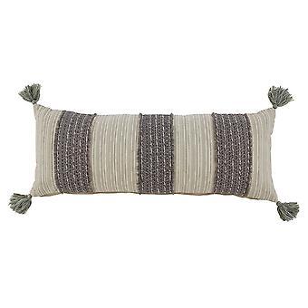 36 X 14 Baumwolle Akzent Kissen mit getrimmten Fransen Details, Set von 4, grau und Creme