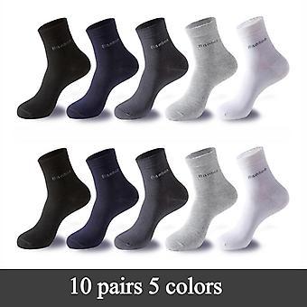 10 Pairs Bamboo Fiber Casual Business Anti-bacterial Breathable Crew Sock